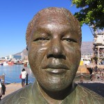 Mandela Statue in the upscale V&A Waterfront, Cape Town, South Africa
